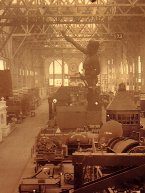 Giuseppe Moretti's Vulcan statue stands amid other displays in the Palace of Mines and Metallurgy at the 1904 World's Fair in St. Louis. It earned silver medals for its creator, Giuseppe Moretti, and iron and steel manufacturers James R. McWane and J.A. MacKnight, who commissioned the monumental sculpture. (From Encyclopedia of Alabama, courtesy of the A.S. Williams III Americana Collection. The University of Alabama Libraries)