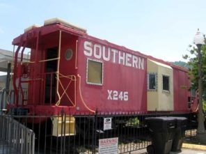A caboose formerly used by the Norfolk-Southern Railway Company is part of the Fort Payne Depot Museum in Fort Payne, DeKalb County. (From Encyclopedia of Alabama)