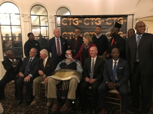A group including many former Alabama, Auburn and NFL football greats gathers for the ALS Association Alabama Chapter's Change the Game event. Professional ootball players are at greater danger of getting ALS than the general population. (Michael Tomberlin/Alabama NewsCenter)