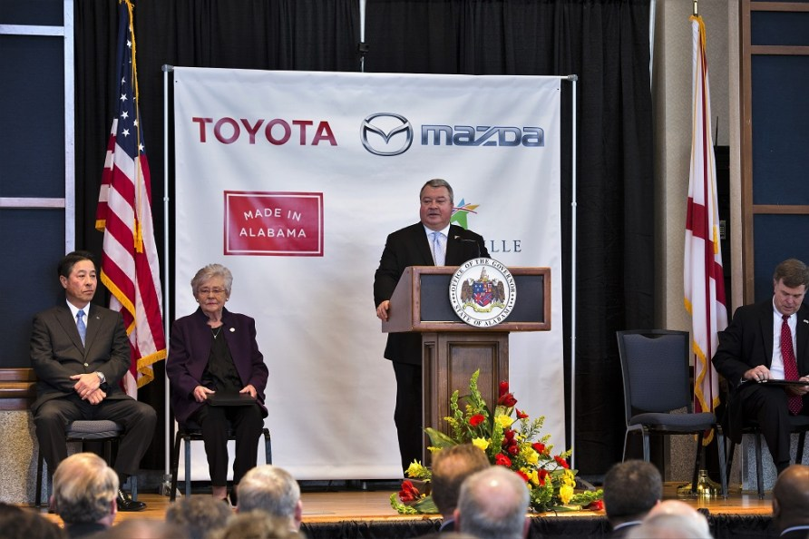 Alabama Commerce Secretary Greg Canfield speaks during an event to announce plans by Toyota and Mazda to build a $1.6 billion assembly plant in Huntsville. (Rob Culpepper/Made in Alabama)