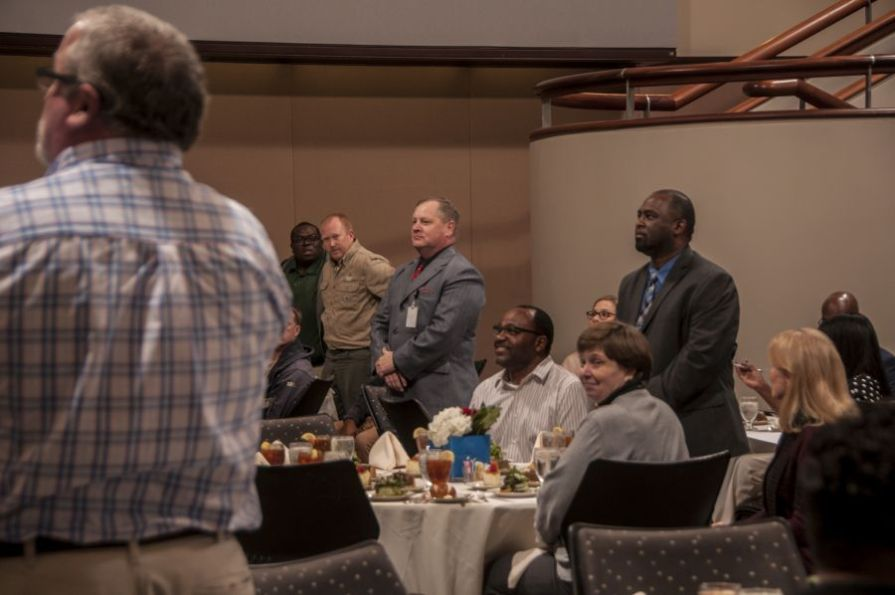 A group of Army National Guard veterans being recognized. (Billy Brown/Alabama NewsCenter)