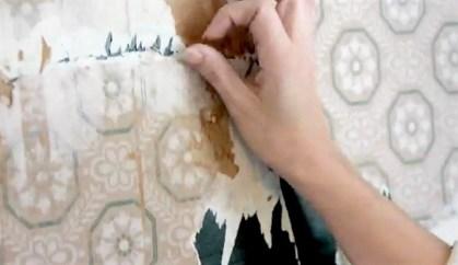 Sara Powell, executive director of the F. Scott and Zelda Fitzgerald Museum, looks over the wallpaper discovered during renovations. (Karim Shamsi-Basha / Alabama NewsCenter)