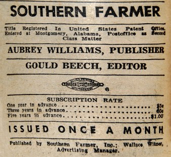 The Southern Farmer was purchased by Aubrey Williams, Gould Beech, and Clifford and Virginia Foster Durr in 1945 to serve as a forum for promoting their progressive reform efforts. (From Encyclopedia of Alabama, courtesy of the Alabama Department of Archives and History)