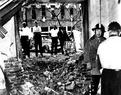 The 16th Street Baptist Church in Birmingham was bombed by the Ku Klux Klan on Sept. 15, 1963, killing four African-American girls. The tragedy incited local riots and national outrage and was a central moment leading to the Civil Rights Act of 1964. (From Encyclopedia of Alabama, Birmingham Public Library Archives)