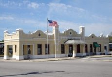The railroad depot in Cullman, the Cullman County seat, was built by the Louisville and Nashville Railroad Company in 1913. Passenger service through the station ended in 1968, and the city of Cullman bought the structure in 1990. It is listed on the National Register of Historic Places. (From Encyclopedia of Alabama, courtesy of Ginger Ann Brook)