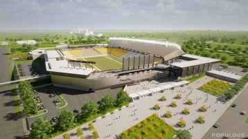 The latest design of the new $175 million stadium being built next to the BJCC. (Populous)