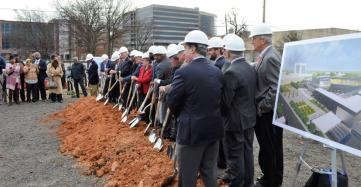 The large group for the ceremonial groundbreaking of the BJCC stadium was indicative of the scale of cooperation needed to bring the project to this point. (Michael Tomberlin / Alabama NewsCenter)