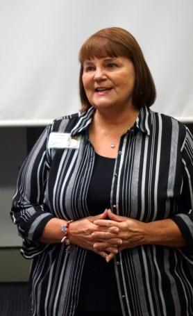 Linda Miller, AWC board chairman, at the Dec. 15, 2018 ribbon-cutting program. (Erin Harney / Alabama NewsCenter)