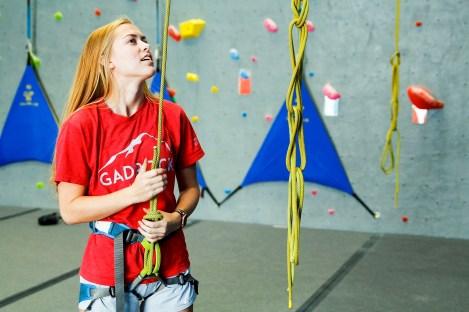 GadRock's Maggie Grizzard prepares for a climb. (Justin Averette/Shorelines)