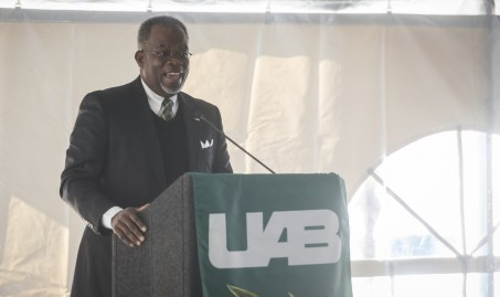 Dr. Eric Jack, Ph.D. (dean, School of Business) speaks at the groundbreaking event for the new Collat School of Business and the Bill L. Harbert Institute for Innovation and Entrepreneurship), Dec. 9, 2016. (Adam Pope/UAB)
