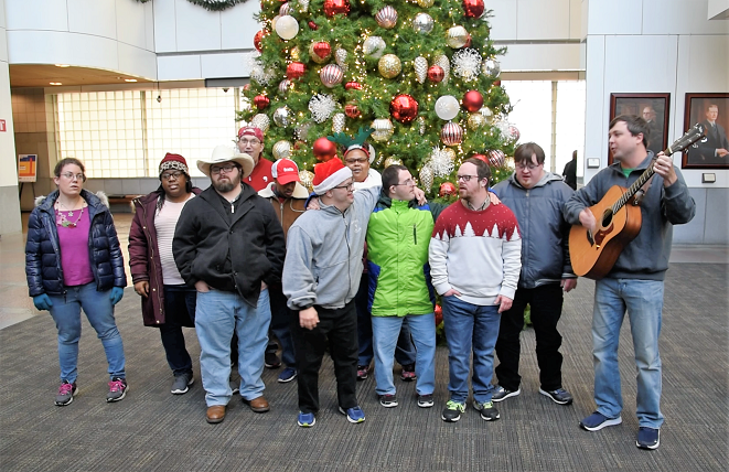The carolers from the Exceptional Foundation make the holidays merry and bright. (Brittany Faush / Alabama NewsCenter)