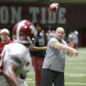 Alabama's Joe Pannunzio works with the running backs. (Robert Sutton)