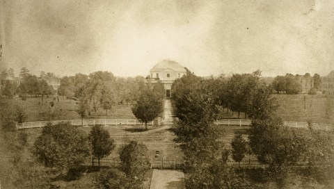 The campus of the University of Alabama, c. 1859. Photograph features the Quad, with the Rotunda at center and dormitories in the background. These buildings were destroyed by the Union army under the command of Brigadier General John T. Croxton on April 4, 1865. (University of Alabama Libraries: William Stanley Hoole Special Collections Library, Wikipedia)