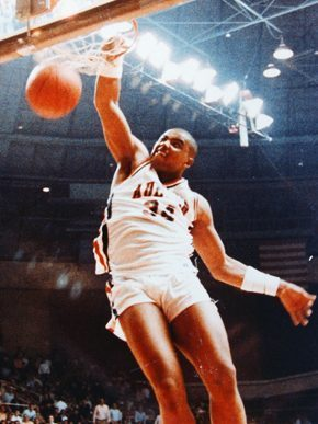 Charles Barkley attended Auburn University in the early 1980s, playing for the basketball team and earning the Southeastern Conference's Player of the Year in 1984. Although he played only three seasons for the Tigers, he is the school's seventh leading rebounder and is listed among Auburn's top 20 scorers with 1,183 points. (From Encyclopedia of Alabama, courtesy of Auburn University)
