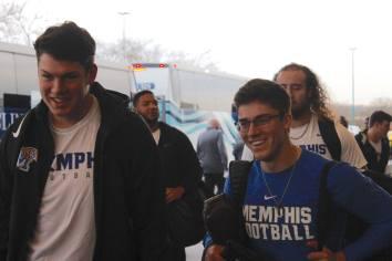 The Memphis football team arrives for the Birmingham Bowl. (Birmingham Bowl)