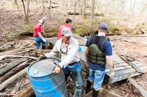 A team of volunteers handles some large debris during a cleanup at Lake Logan Martin. (file)