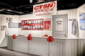 An exhibit celebrates the rich tradition of Alabama sports broadcasting. (Paul W. Bryant Museum)