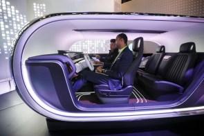 A Kia Motors Corp. simulator demonstrates the Real-time Emotion Adaptive Driving system. (Patrick T. Fallon/Bloomberg)