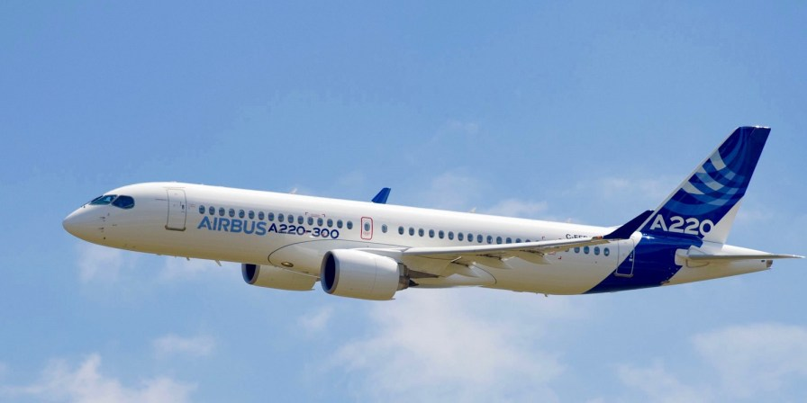 An Airbus A220 jet in flight. The company's Alabama employees will begin building the A220 later this year. (contributed)