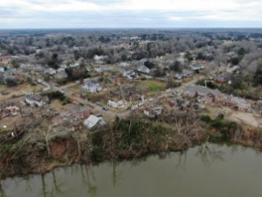 Saturday damaged about 35 homes, businesses and structures. (Jason McDade)