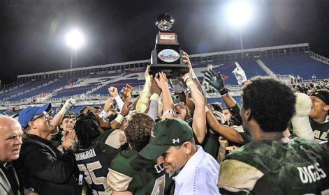 The UAB Blazers celebrate the team's win in the Boca Raton Bowl, the team's first-ever bowl victory. (contributed)