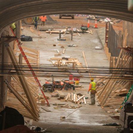 Rainy weather doesn't hinder construction underway at Talladega. (Dennis Washington)