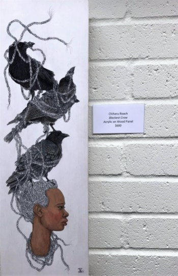 Works by Chiharu Roach in an exhibit at Fairhope's Eastern Shore Art Center. Roach is participating in the Magic City Art Connection. (Dan Bynum/Alabama NewsCenter)