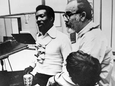 "In 1966, Atlantic Records producer Jerry Wexler, right, brought Alabama-born soul artist Wilson Pickett, left, to Florence Alabama Music Enterprises (FAME) Studios to record ""Land of 1,000 Dances."" (From Encyclopedia of Alabama, courtesy of the Alabama Music Hall of Fame)"
