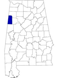 Lamar County is 53rd in size among Alabama counties and is located in the northwestern part of the state. (From Encyclopedia of Alabama, courtesy of University of Alabama Cartographic Research Laboratory)