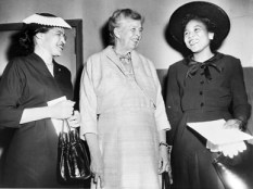 From left, Rosa Parks, Eleanor Roosevelt and Autherine Lucy Foster are seen prior to a civil rights rally at Madison Square Garden in New York City in May 1956. (From Encyclopedia of Alabama, courtesy of Library of Congress)
