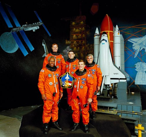 The STS-53 crew portrait included astronauts (front left to right): Guion S. Bluford and James S. Voss, mission specialists. On the back row, left to right, are David M. Walker, commander; Robert D. Cabana, pilot; and Michael R. (Rick) Clifford, mission specialist. The crew launched aboard the space shuttle Discovery on Dec. 2, 1992. This mission marked the final classified shuttle flight for the Department of Defense. (photo courtesy of the National Aeronautics and Space Administration)
