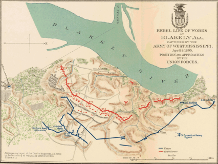 Map of the Battle of Fort Blakely, 1895. (U.S. War Department, David Rumsey, Wikipedia)