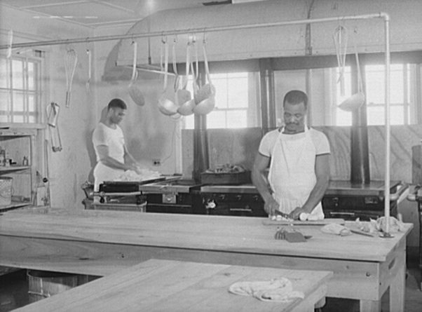 Flying cadets' kitchen at Craig Field, Southeastern Air Training Center, Selma, c. 1941, photo by John Collier Jr. (Library of Congress, Prints and Photographs Division)