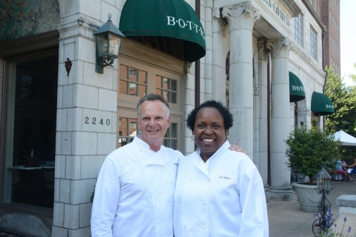 Frank Stitt and Dolester Miles in front of Bottega, one of Stitt's four Birmingham restaurants. Miles, who creates the desserts for all of them, won last year's James Beard Award for the nation's best pastry chef. (file)