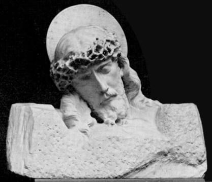 E.C. Kropp postcard featuring the Head of Christ by Giuseppe Moretti, c. 1940s. (Auburn University Libraries, Wikipedia)