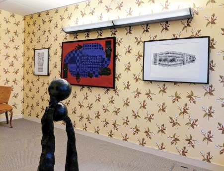 The Key brothers' art is exhibited together at Spring/Break Art Show in New York. The left and right paintings and the sculpture are by Jarrett Key, the center painting and wallpaper by Jon Key. (contributed)