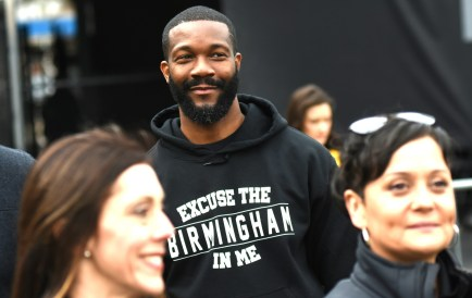 Birmingham Mayor Randall Woodfin takes in the action after delivering the game ball for the Birmingham Iron's season opener. (Solomon Crenshaw Jr./Alabama NewsCenter)