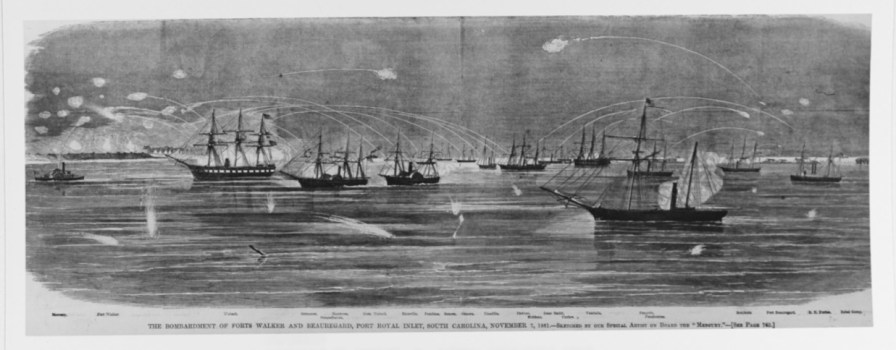Bombardment and capture of Port Royal, South Carolina, Nov. 7, 1861. It depicts Federal warships, bombarding Fort Beauregard (at right) and Fort Walker (at left). The Confederate squadron is in the left center distance. (Harper's Weekly, U.S. Naval History and Heritage Command Photograph)