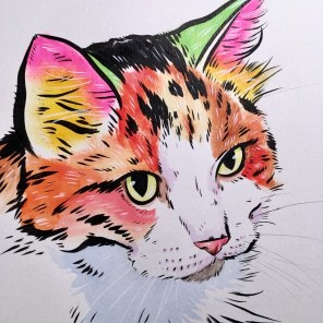 Davis says he likes to show cats some love too in his artistry. (Chris Davis/Facebook)