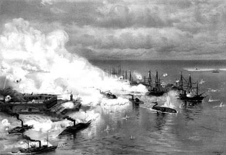 A print of Battle of Mobile Bay ... Passing Fort Morgan and the Torpedoes, painted by J.O. Davidson in 1886. The scene depicts the sinking of the ironclad USS Tecumseh. Confederate ironclads Morgan, Gaines and Tennessee approach from the left, and Union ironclads Manhattan and Winnebago approach from behind. (From Encyclopedia of Alabama, courtesy of U.S. Naval Historical Center)