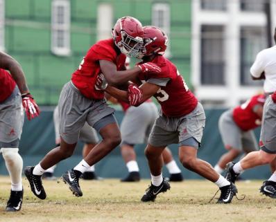 Alabama's defense gets in work during Alabama's spring practice Friday. (Noah Sutton/UA Athletics)