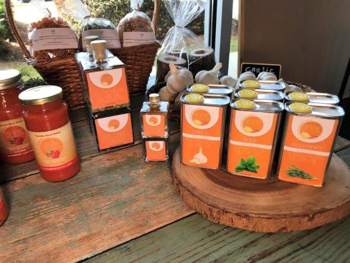 Bare Naked Noodles has its own line of infused olive oils and a special decanter of olive oil and balsamic vinegar. (Michael Tomberlin / Alabama NewsCenter)