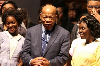 "U.S. Rep. John Lewis with the ""Four Little Girls"" cast. (Justin Averette/Alabama NewsCenter)"