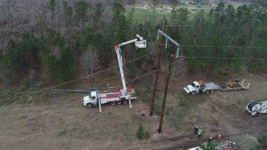 Restoration work to get customers' service restored. (Steve Dunlap)