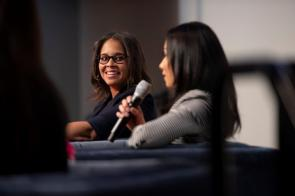 Yazmin Cavale, CEO/co-founder of Glow, was part of the panel at the Women's History Month breakfast at Alabama Power. (Wynter Byrd / Alabama NewsCenter)