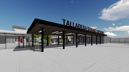 Entrance to the new Talladega Garage Experience opening in October. (Talladega Superspeedway)