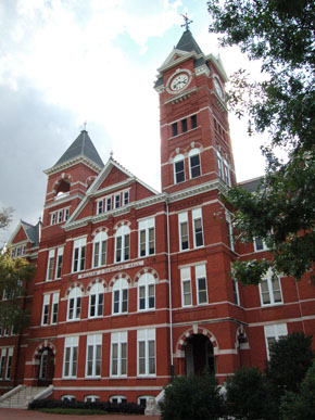 One of the largest universities in Alabama, Auburn University is one of three land-grant institutions in the state. Located in west-central Lee County, it was chartered by Methodists as East Alabama Male College in 1856 and went through several name changes before becoming Auburn University in 1960. (From Encyclopedia of Alabama, photograph by Justin Dubois)