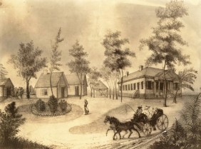 This mid-19th-century print depicts Chestnut Hill, the estate of politician William Rufus King. He built it about 1820 on the east bank of the Alabama River opposite the state capital at Cahaba in Dallas County. The structure burned in 1920. (From Encyclopedia of Alabama, photo courtesy of the Alabama Department of Archives and History)