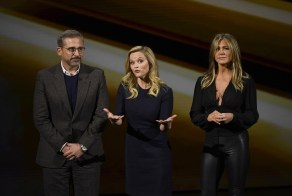 Reese Witherspoon, center, Steve Carell, left, and Jennifer Aniston in Cupertino on Monday. (David Paul Morris/Bloomberg)