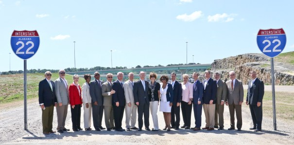 Former Gov. Robert Bentley joins state legislators and other state and local dignitaries after a ribbon cutting for the I-22 Interchange at I-65. (Governor's Office, Jamie Martin)